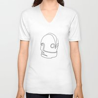 quibe V-neck T-shirts featuring One line Iron Giant by quibe