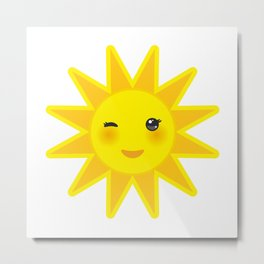funny cartoon yellow sun smiling and winking eyes and pink cheeks, sun on white background Metal Print