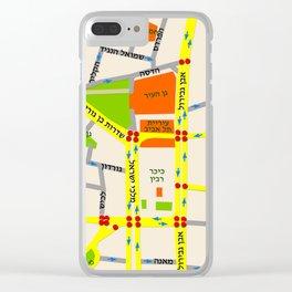 Tel Aviv map design - written in Hebrew Clear iPhone Case