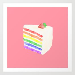 Watercolor Rainbow Cake Art Print
