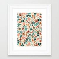 folk Framed Art Prints featuring Folk Flowers by Anna Deegan