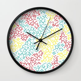 Contemporary Street Art Keith Haring Pattern Geometric Color #1W Wall Clock