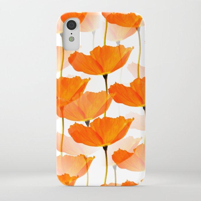 Orange Poppies On A White Background #decor #society6 #buyart iPhone Case