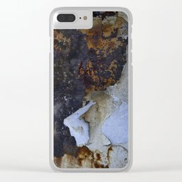 Old white paint on rusty metal Clear iPhone Case