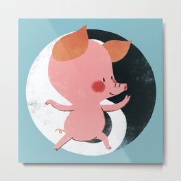 Little Pink Pig Tai Chi Metal Print