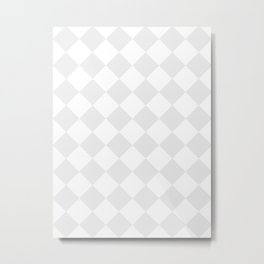 Large Diamonds - White and Pale Gray Metal Print