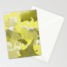 Yellow Splatters Watercolor Illustration - Patchy Camo Stationery Cards