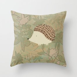 Hedgehog Best Day Ever Throw Pillow