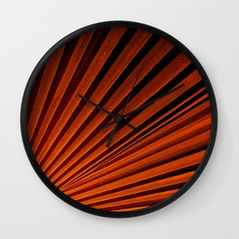 Abstract Orange Palm Frond Wall Clock