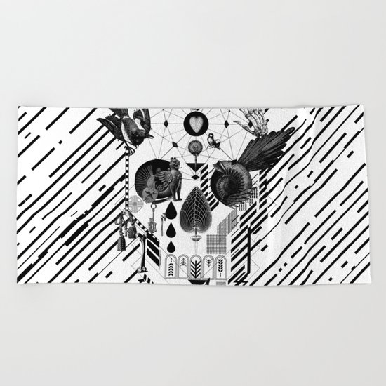Abstract Skull B&W Beach Towel