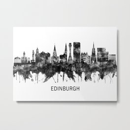 Edinburgh Scotland Skyline BW Metal Print