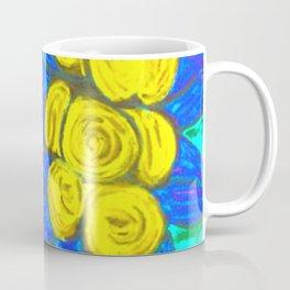 Mediteranean abstract flowers- blue and yellow  Coffee Mug