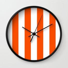 Vertical Stripes - White and Dark Orange Wall Clock