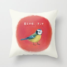 Blue Tit Throw Pillow