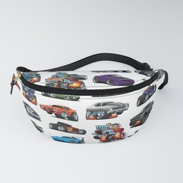 American Hot Rods, Muscle Cars, Street Rods, Pickup Trucks and Motorcycle Cartoons Fanny Pack