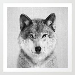 Wolf 2 - Black & White Art Print