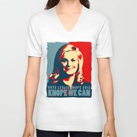 leslie knope V-neck T-shirts featuring Knope We Can by Sam G Adams