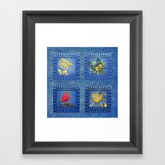 Denim Square Patches Framed Art Print