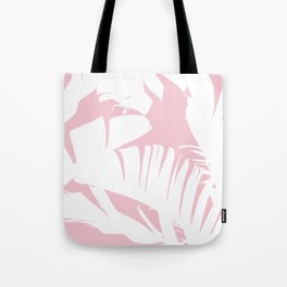 White on Pink Tropical Banana Leaves Pattern Tote Bag