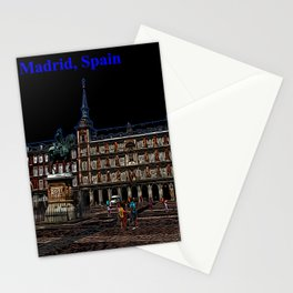 Neon Art of a plaza in Madrid, Spain Stationery Cards