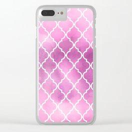Moroccan Trellis, Latticework, Watercolors - Pink Clear iPhone Case