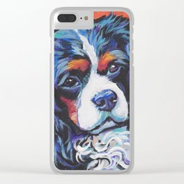 Fun Cavalier King Charles Spaniel Dog bright colorful Pop Art by LEA Clear iPhone Case