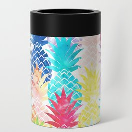 Hawaiian Pineapple Pattern Tropical Watercolor Can Cooler