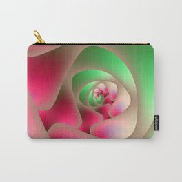 Spiral Labyrinth in Mint and Rasberry Carry-All Pouch