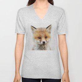 Baby Fox, Baby Animals Art Print By Synplus Unisex V-Neck