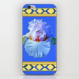BLUISH-WHITE PASTEL IRIS FLOWER BOTANICAL ART iPhone Skin