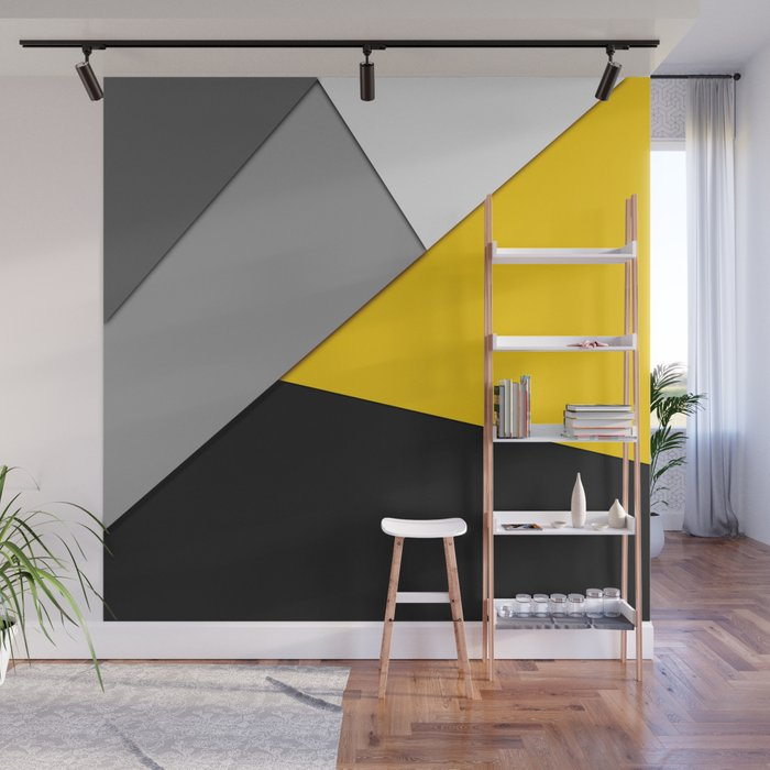 Simple Modern Gray Yellow And Black Geometric Wall Mural
