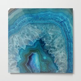 Blue agate marble faux druse crystal quartz gem gemstone geode mineral stone photograph hipster Metal Print