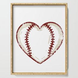 Vintage Baseball Heart product Gift Funny Softball Love design Serving Tray