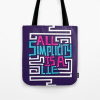 risa rodil Tote Bags featuring All Simplicity is a Lie by Risa Rodil