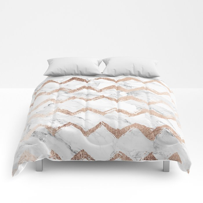 Chic Faux Rose Gold Chevron White Marble Pattern