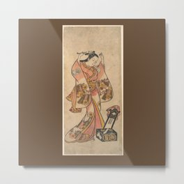 Sanjō Kantarō as a Woman Arranging Her Hair Before a Lacquer Mirror Metal Print