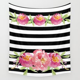 Stripe Black & White Horizontal and Watercolor Roses Wall Tapestry