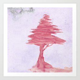 Red Tree watercolor on old paper Art Print