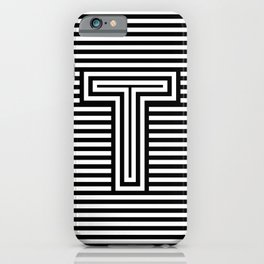 Track - Letter T - Black and White iPhone Case