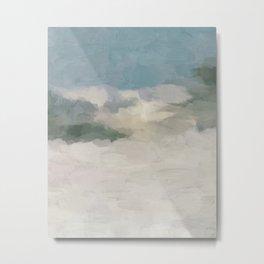 Modern Abstract Painting, Teal Blue, Sage Green, Beige Yellow Sandy Digital Prints Wall Art, Ocean Metal Print