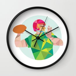 American Football QB Throwing Ball Low Polygon Wall Clock
