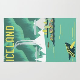 Vintage Mid Century Modern Iceland Scandinavian Travel Poster Ocean Whale Winter Village Rug