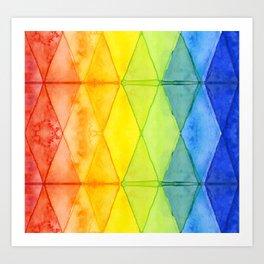 Geometric Abstract Rainbow Watercolor Pattern Art Print