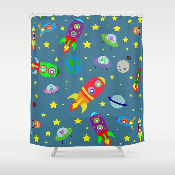 Rockets To The Moon: Rockets To The Moon Shower Curtain By Theredumbrellashop