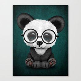 Cute Panda Bear Cub with Eye Glasses on Teal Blue Canvas Print