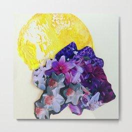 Garden Circle - Bright Yellow Metal Print