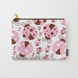 Ladybugs (Ladybirds, Lady Beetles) - Pink Brown Carry-All Pouch