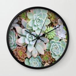 Pastel Succulent Garden Wall Clock