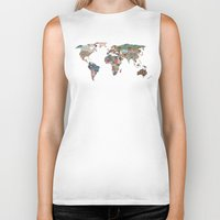 world maps Biker Tanks featuring Louis Armstrong Told Us So by Bianca Green