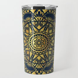 Blue & Gold Boho Pattern Travel Mug